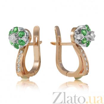 Золотые серьги с изумрудами и бриллиантами Джозефа EDM--С7432СМАРАГД