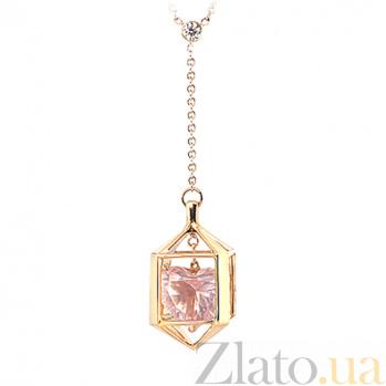 Колье из желтого золота с кварцем и бриллиантом Ангел 000029582