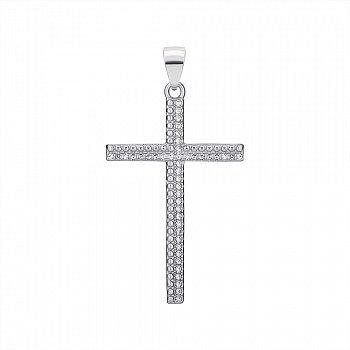 Крестик из серебра с фианитами 000147345