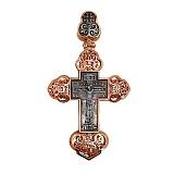 Золотой крестик с черным и белым родированием Крещенский