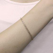 Золотой браслет Линдау в красном цвете плетения лисий хвост, 2,5мм