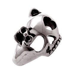 Кольцо из серебра с черепом кошечки и чернением 000091457