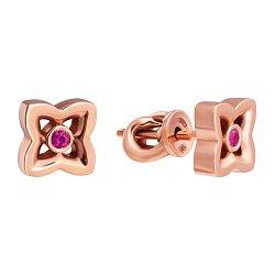 Золотые серьги-пуссеты с розовым сапфиром Love