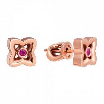Золотые серьги-пуссеты с розовым сапфиром 000020882