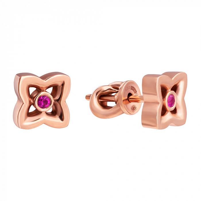 Золотые серьги-пуссеты с розовым сапфиром Love 33139st