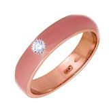 Золотое кольцо Пастель с фианитом и эмалью цвета коралл