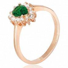 Позолоченное серебряное кольцо с зеленым фианитом Пенелопа
