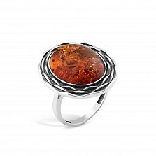 Серебряное кольцо Марсела с янтарем и чернением