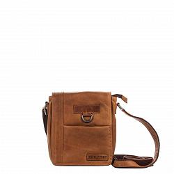 Кожаная мужская сумка HILL BURRY 3057 коричневого цвета с клапаном и дополнительным карманом