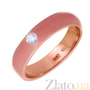 Золотое кольцо Пастель с фианитом и эмалью цвета коралл К220кр/кор