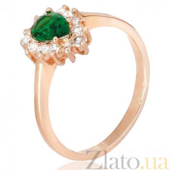 Позолоченное серебряное кольцо с зеленым фианитом Пенелопа 000028432