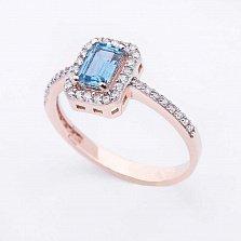 Золотое кольцо Люсьена с топазом и фианитами
