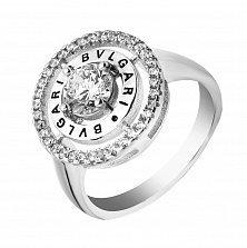 Серебряное кольцо Элегия с фианитами в стиле Булгари