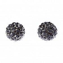 Серебряные пуссеты-шары Блеск с кристаллами Swarovski цвета графит