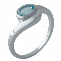 Серебряное кольцо с синтезированным аквамарином и родированием 000128935