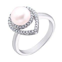 Серебряное кольцо с жемчугом и фианитами 000132586