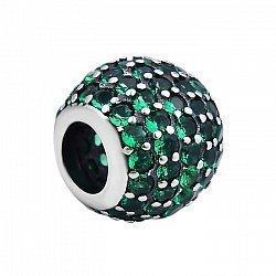 Серебряный шарм с зелеными фианитами 000103118