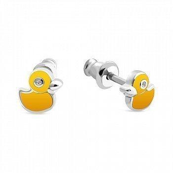 Серьги-пуссеты с желтой эмалью и фианитами 000150562