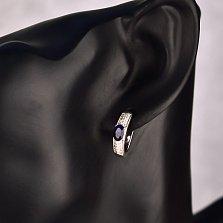 Серебряные серьги Арагона с сапфиром и фианитами