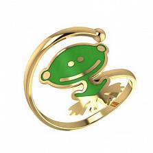 Золотое кольцо Лягушонок с эмалью