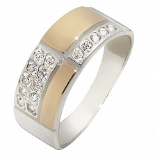 Серебряное кольцо Соренто с золотом и фианитами