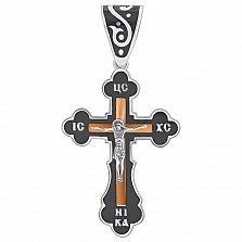 Серебряный крест Царь Славы с черной эмалью и золотой накладкой