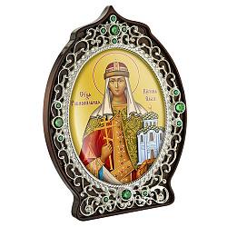Икона Святая княгиня Ольга с латунью, зелеными фианитами и цветной эмалью 000004204