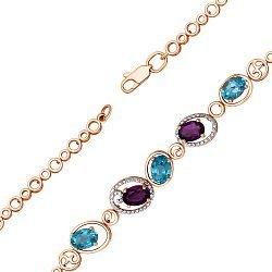 Колье в комбинированном цвете золота с голубыми топазами, аметистами и фианитами 000131581