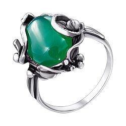 Серебряное черненое кольцо с искусственным хризопразом 000095548
