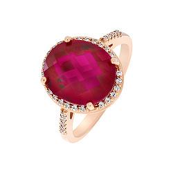 Кольцо в красном золоте Регина с синтезированным рубином и фианитами 000031885