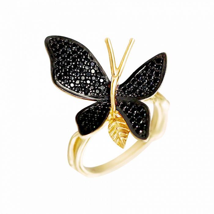 Кольцо из желтого золота Ночной полет с черными фианитами 000081337