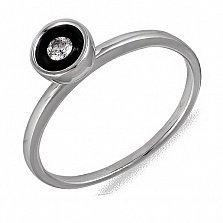 Кольцо Надежда из белого золота с бриллиантом и эмалью