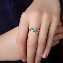 Серебряное кольцо Азон с изумрудом и цирконием