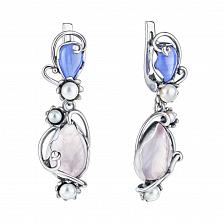 Серебряные серьги-подвески Арамиль с розовым кварцем, голубым агатом и жемчугом