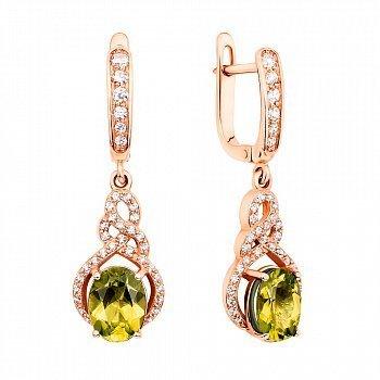 Серьги-подвески из красного золота с хризолитами и фианитами 000104087