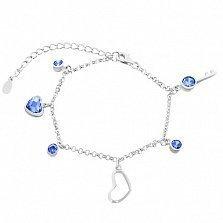 Серебряный браслет кристаллами циркония Ключ к сердцу
