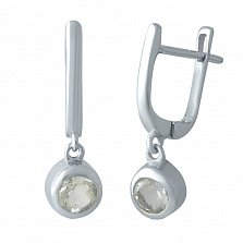 Серебряные серьги-подвески Вартия с завальцованными аметистами