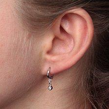 Серебряные сережки-подвески Агрилле с завальцованными фианитами