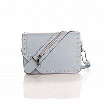 Кожаный клатч Genuine Leather 1729 серо-голубого цвета с декоративной пряжкой на клапане