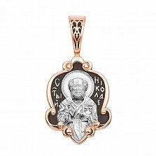 Серебряная ладанка Молитва Святому Николаю с чернением и позолотой