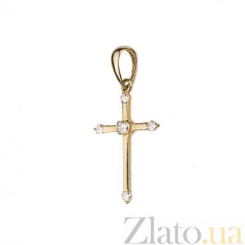 Крестик в желтом золоте Благая весть с бриллиантами 000079196