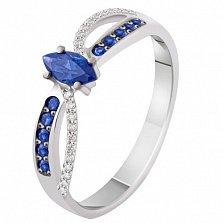 Золотое кольцо с бриллиантами и сапфирами Люция