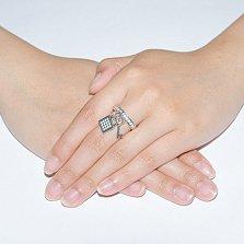 Серебряное кольцо с фианитами Ключик к сердцу