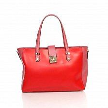 Кожаная деловая сумка Genuine Leather 8949 красного цвета с коралловыми вставками