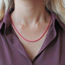 Ярко-розовый плетеный шелковый шнурок Енисей с серебряным замком