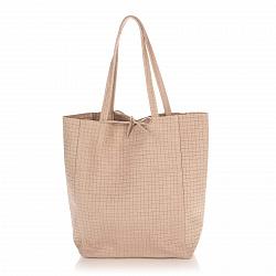 Кожаная сумка на каждый день Genuine Leather 8040 цвета мокко на завязках