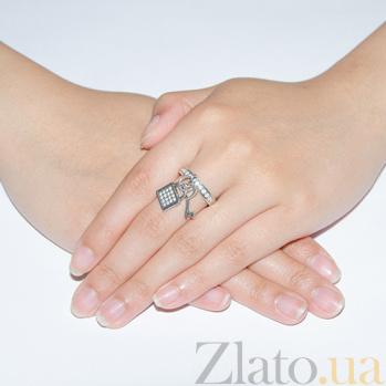 Серебряное кольцо с фианитами Ключик к сердцу 000005831