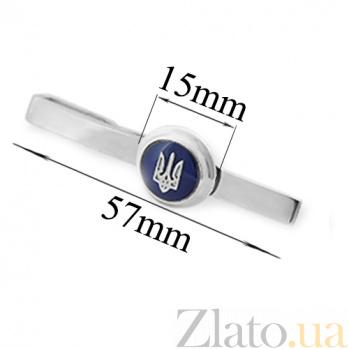 Серебряный зажим для галстука с эмалью Патриот VLA--59545