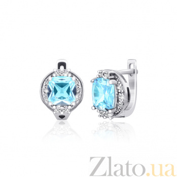 Серебряные серьги с голубым цирконием Олкион SLX--СК2ФТ/395