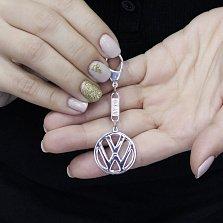 Серебряный брелок с логотипом Volkswagen и родием